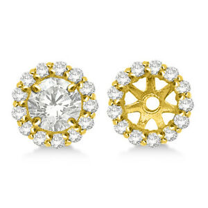 14K Yellow Gold SI2G White Diamond Halo Solitaire Stud Bridal Earrings Jackets
