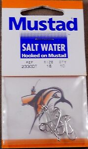 Mustad Fishing Hooks 1 Pack Of 10 Saltwater Hooks Size #18 Tinned