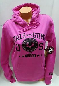 NWT~CABELAS~PINK GIRLS WITH GUNS WOMENS HOODIE SWEATSHIRT & UNDER ARMOUR SOCKS