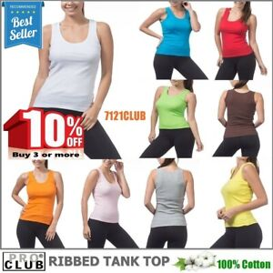 WOMENS Ribbed Tank Tops Shirt Sleeveless PRO CLUB Cami Yoga Top Undershirt S-3XL