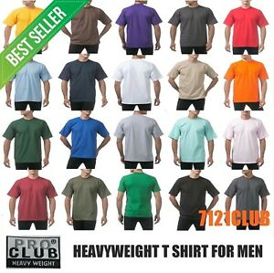 PRO CLUB HEAVYWEIGHT T SHIRTS PROCLUB MENS PLAIN CREWNECK SHORT SLEEVE TEE S 7XL $8.00