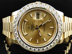 New Mens Rolex President 2 II Solid 18 kt 43MM Diamond Watch Gold Dial 8 Ct
