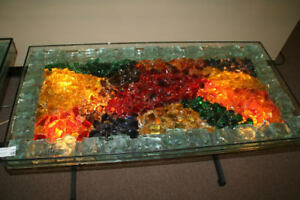 Rare 1970's One-of-a-Kind Chunk Glass Lighted Table