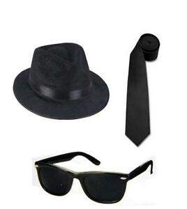 2 BLUES BROTHERS FEDORA HATS 2 BLUES BROS SUNGLASSES 2 TIES Free Shipping $24.75