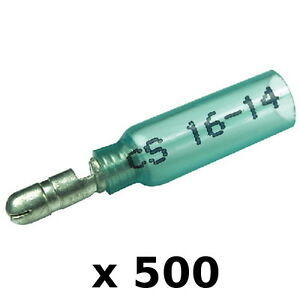 500 Pack Blue 16-14 AWG Heat Shrink 0.180 Inch Male Bullet Terminals for Boats