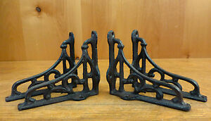 4 SMALL BROWN ANTIQUE STYLE 4quot; SHELF BRACKETS CAST IRON rustic garden SCROLL