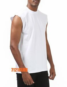 PROCLUB SLEEVELESS T SHIRTS WHITE Mens Heavyweight Plain Muscle LOT 6 PACK M-7XL