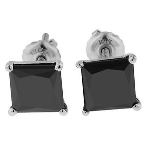 4.00ct PRINCESS CUT Black Diamond STUD EARRINGS 14k WHITE GOLD STEAL DEAL