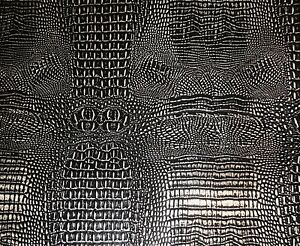 Vinyl faux Leather Upholstery  Alligator Glossy 2 tone BLACK on SILVER Metallic