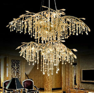 American retro LED luxury villa duplex branch crystal pendant lamp hall light $3463.50