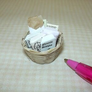 Miniature quot;Shadow Boxquot; Basket of Victorian Patterns #3: DOLLHOUSE 1:12 $6.98