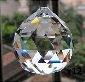 Set Of 12 Clear Hanging Crystal Ball Prism Home Decoration