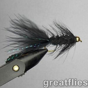 1 dozen 12 Woolly Bugger BLACK Bead Head
