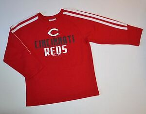 Cincinnati Reds Youth Striped Sleeve Dry-Fit Rugby Shirt 6-7 Small *Boys