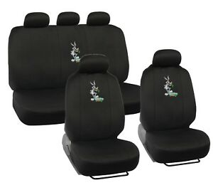 Looney Tunes Bugs Bunny Car Seat Covers w 5 Headrest Snug Fit Auto Protection