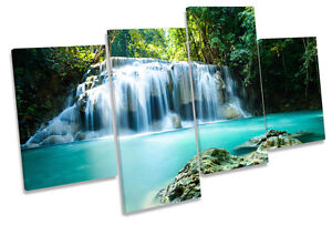 Paradise Waterfall Tropical Forest MULTI CANVAS WALL ART Boxed Framed