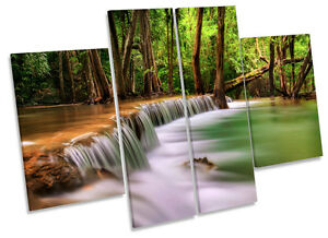 Forest Landscape Tropical River CANVAS WALL ART MULTI Panel Print Box Frame