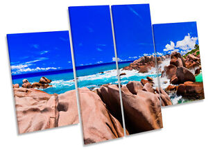 Sunset Beach Tropical Seascape CANVAS WALL ART MULTI Panel Print Box Frame