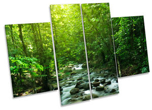 Tropical Mountain Stream Landscape CANVAS WALL ART MULTI Panel Print Picture