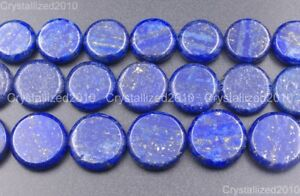 Natural Lapis Lazuli Gemstone Flat Round Coin Loose Beads 8mm 10mm 12mm 14mm 16