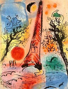 Marc Chagall Vision of Paris M.287 Original Mourlot Color Lithograph $1298.00