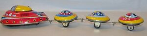 ufo space saucer wind up tin toy w 3