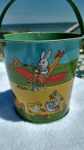 vintage sand pail 4 chein s bunny flying
