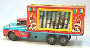 vintage tin friction moving cinerama truck