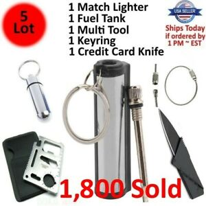 Waterproof Match Permanent Lighter Striker Fire Starter Emergency Survival Kit