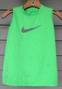 NIKE BOY'S LOGO DRI-FIT SLEEVELESS ACTIVE TANK TOP SHIRT GREEN XSMALL EUC! $25