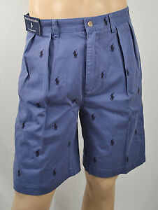 Polo Ralph Lauren BLUE LOGO GOLF PLEATED TYLER SHORTS NAVY PONY PONIES NWT 34