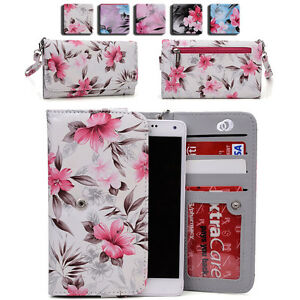 Women's Flower Pattern Wallet Case Cover for Smart Cell Phones by KroO ESLGF 4