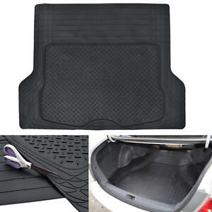 Black Odor-Free Trimmable Rubber Tough CargoTrunk Liner Mat for Cars SUVs Vans