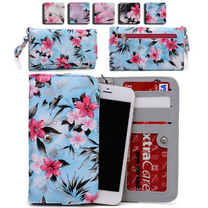 Womens Flower Pattern Wallet Case Cover for Smart Cell Phones by KroO ESMLF 13