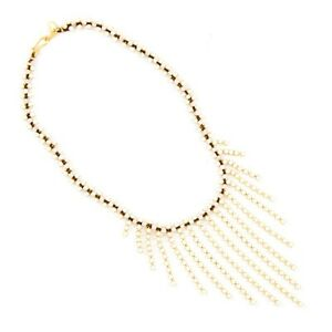 NEW $325 CHAN LUU WHITE MOTTHER OF PEARL GOLD STATEMENT BIB NECKLACE