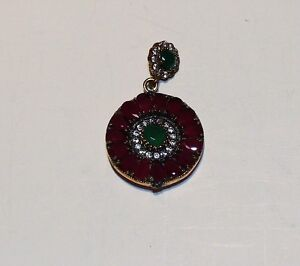 15.62 Cts. Turkish Green Emerald Quartz .925 Silver Two Tone Pendant
