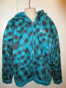 UNDER ARMOUR LOOSE ~PLAID~ Black & Aqua ZIP UP Hoodie JACKET GIRL'S YOUTH LARGE