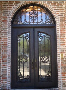 Hand-Crafted Wrought Iron Entry Doors 12 Gauge Wrought Iron 72