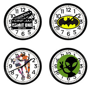 Comic Book Novelty Theme Wall Clock 11quot; Round Black Plastic Game Room Man Cave
