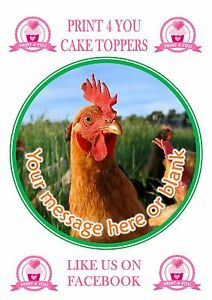 ND2 Chicken Rooster birthday personalised round cake topper icing
