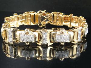 Men's Yellow Gold Finish Pave Real Diamond Block Link Statement Bracelet 1.30ct