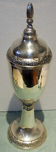 TALL 800 SILVER  CUPTROPHY WITH COVER BY:ML--19 C -H=25 INCHES -43.794 TROY OZ