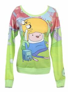 Adventure Time Girls Juniors  Light Sweatshirt - Jake Relaxing On Finns Head