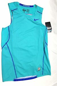 Mens Nike Pro Combat Fitted Fit Dry Base Layer Tank Top Shirt 693651 Blue Green