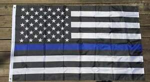 Thin Blue Line American Flag 3x5 ft With Grommets LEO Blue Lives Matter USA