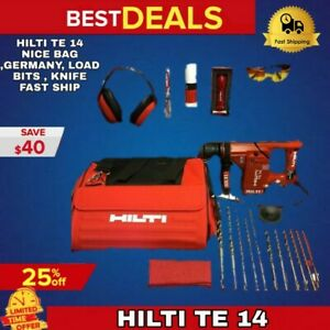 HILTI TE 14 HAMMER DRILL, L@@K, NICE BAG ,GERMANY, LOAD BITS , KNIFE FAST SHIP