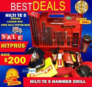 HILTI TE 5 HAMMER DRILL LK FREE HILTI COFFE MUG LOADED BITS FAST SHIP
