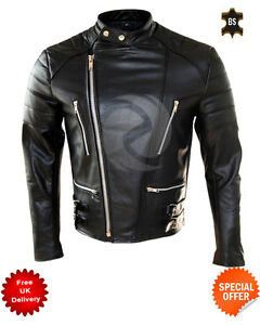 Mens Motorbike Black Leather Biker Jacket Classic Brando biker jacket in cowhide