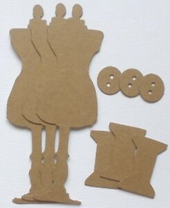 {3} SEWING ROOM KiTS -  Dress Form Mannequin Chipboard Die Cuts - 6 14