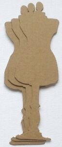 {4}  MANNEQUIN DRESS FORM - Raw Bare Unfinished Chipboard Die Cuts - 6 14